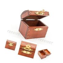Odoria 1:12 Miniature Vintage Wooden Brown Treasure Chest