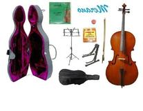 Merano 1/2 Size Cello with Hard Case, Bag and Bow+2 Sets of