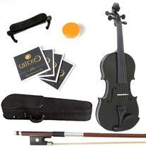 Mendini 1/2 MV-Black Solid Wood Violin with Hard Case,