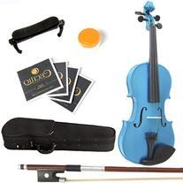 Mendini 1/2 MV-Blue Solid Wood Violin with Hard Case,