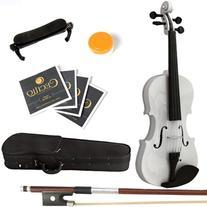 Mendini 1/4 MV-White Solid Wood Violin with Hard Case,