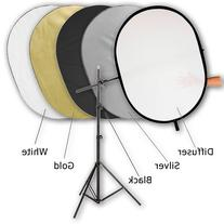 "Fotodiox 36""x48"" 5-in-1 Collapsible Reflector Disc Pro Kit,"