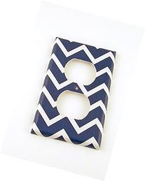 1 Gang Outlet Switch Plate, Navy Chevron