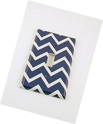 1 Gang Toggle Switch Plate, Navy Chevron