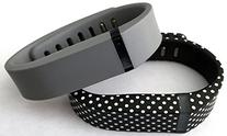 Small 1 Grey 1 Black with White Dots Spots Band for Fitbit