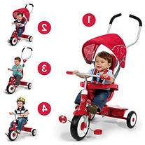 Radio Flyer 4-in-1 Trike, Red- Children's Tricycle- Push-