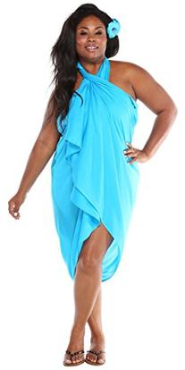 1 World Sarongs Womens Solid PLUS Size FRINGELESS Cover-Up