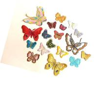 CraftbuddyUS 10 Iron On, Stick on Fabric Butterfly Motifs,