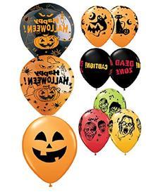 "10 Assorted 11"" Latex Balloons - Halloween Balloons - Helium"
