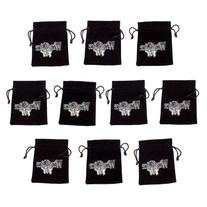 "10 Medium 3"" x 4"" Black Velour Pouches with Drawstrings by"