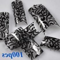 100 Charming Clear Black Floral Design French Acrylic False