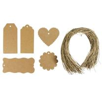 AllyDrew 100 Gift Gags/ Kraft Hang Tags with Free Cut String