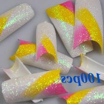 100 Purple Yellow White Glitter Mix Style False French