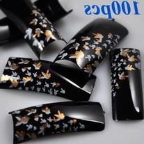 100 Stunning Black Gold Rabbit Style False French Acrylic