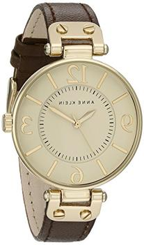Anne Klein Women's 109168IVBN Gold-Tone and Brown Leather