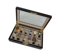 12 Piece Ebony Wood Watch Display Case and Storage Organizer