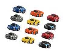 12 Assorted Pullback Diecast Metal Race Cars Set