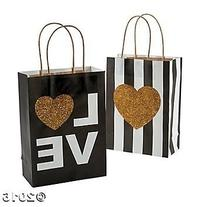12 Black and Gold Glitter Wedding Craft/Gift Bags/