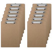12 Clipboards - Hardboard - Flat Clip - 9 x 12.5 Inches - 12