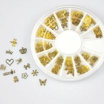 EVERMARKET 12*10pcs Nail Art Gold Metal Slice Stickers