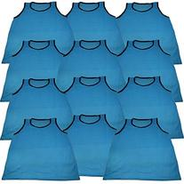 12 Scrimmage Vests Pinnies Soccer Adult Light Blue ~ New