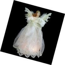 """14"""" Lighted Elegant Ivory Angel Christmas Tree Topper -"""