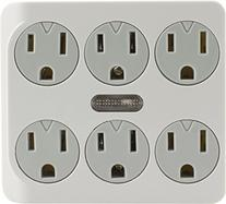 GE 14470 Six-Outlet Grounded Power Tap Guide Light, White