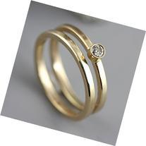 14k Yellow Gold Wedding Ring Set with Champagne Diamond