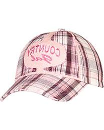 "Blazin Roxx Women's ""Country Gal"" Embroidered Plaid Cap Pink"