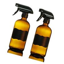 16 Oz Amber Glass Spray Bottles , DUAL SPRAY / HIGH QUALITY