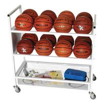 Champion Sport Double Wide Ball Cart, White