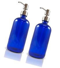 16-Ounce Cobalt Blue Glass Bottles w/Stainless Steel Pumps , Soap Dispenser w/Lotion Pumps for Essential Oil Bottles, Lotions, Liquid Soap, and More