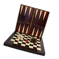 High Gloss Wood Grain Folding Backgammon Set with Chessboard