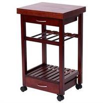 HomCom 19 Rolling Wooden Storage Cart Kitchen Trolley w/