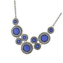 1928 Silver-Tone Blue Faceted Necklace , Silver/Blue