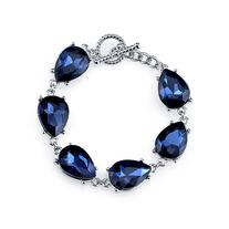 1928 Silver-Tone Blue Faceted Toggle Bracelet , Silver/Blue