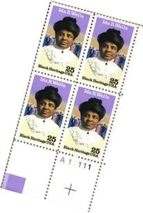 1990 IDA B WELLS ~ BLACK HERITAGE #2442 Plate Block of 4 x