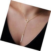 1Pc Gold Women Metal Ring Stick Pendant Charming Necklace