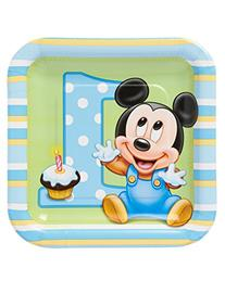 8 Count Mickey's 1st Birthday Square Dessert Plates, Blue