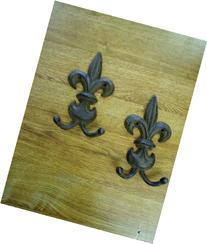 2 Cast Iron Fleur de Lys Coat Hanger set