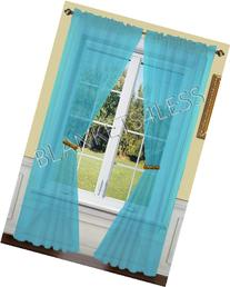 2 Piece Solid Turquoise Sheer Window Curtains/drape/panels/