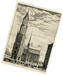 2 Antique Master Prints-ARCHITECTURE-TOWER-NIEUWE KERK-