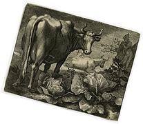 2 Antique Prints-LANDSCAPE-TURKEY-CHICKEN-CABBAGE-Bloemaert-