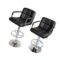 2 Black PU Leather Modern Design Adjustable Swivel Barstools