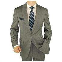 Salvatore Exte Men's 2 Button Sharkskin Silver Gray Suit