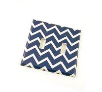 2 Gang Toggle Switch Plate, Navy Chevron