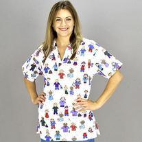 Medline Scrubs Ladies Top 2 Pocket V-Neck Stick People - 1
