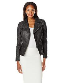DL2 Women's Quilted Leather Moto Jacket, Black, Large