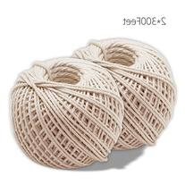 KINGLAKE 2 Rolls Natural Cotton Cooking Twine  Food Safe