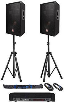 """2 Rockville RSG12.4 12"""" 1000w DJ Speakers+RPA5 1000w"""